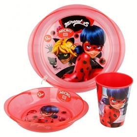SET MEAL - Dishes and Glass MIRACULOUS - LADYBUG