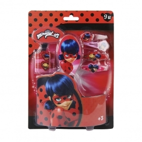Set of Accessories for Hair - MIRACULOUS LADYBUG - 9 pieces