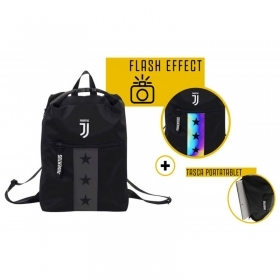 Zaino Juventus Multy Backpack, Nero, 19 Lt, Flash Effect, Scuola Sport e Tempo libero