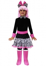 DRESS COSTUME CARNIVAL Mask - Doll zebratina girl with pink wig
