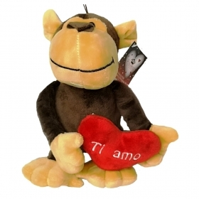 "PLUSH GORILLA VALENTINE's day WITH HEARTS AND WRITTEN ""I LOVE YOU"" 18 cm"