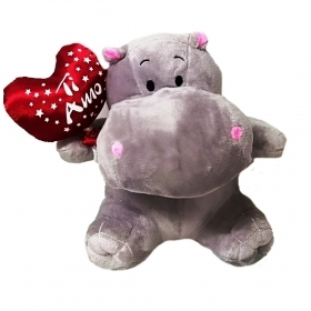 "PLUSH HIPPO VALENTINE WITH HEART AND WRITTEN ""I LOVE YOU"" 20 cm"