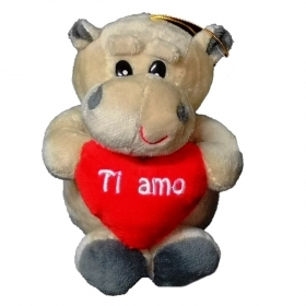 "PLUSH HIPPO VALENTINE WITH HEART AND WRITTEN ""I LOVE YOU"" 15 cm"