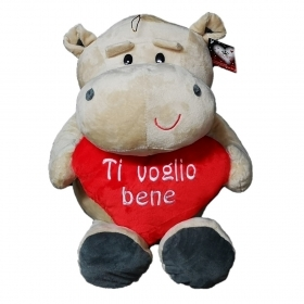 "PLUSH HIPPO VALENTINE WITH HEART AND WRITTEN ""I love YOU"" 40 cm"