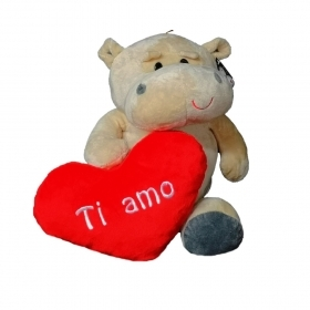 "PLUSH HIPPO VALENTINE WITH HEART AND WRITTEN ""I LOVE YOU"" 28 cm"