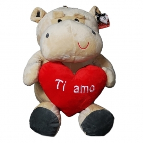 "PLUSH HIPPO - VALENTINE's day WITH HEARTS AND WRITTEN ""I LOVE YOU"" 28 cm"