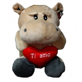 "PLUSH HIPPO - VALENTINE's day WITH HEARTS AND WRITTEN ""I LOVE YOU"" 55 cm"