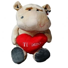 "PLUSH HIPPO - VALENTINE's day WITH HEARTS AND WRITTEN ""I LOVE YOU"", 65 cm"