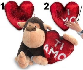 "PLUSH GORILLA VALENTINE's day WITH HEART PAJETS AND WRITTEN ""I LOVE YOU"" 28 cm"