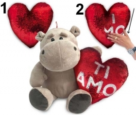 "PLUSH HIPPO VALENTINE WITH HEART PAJETS AND WRITTEN ""I LOVE YOU"" 28 cm"