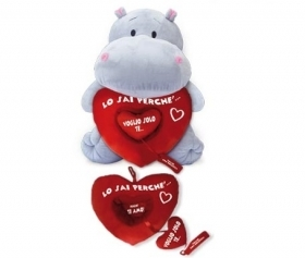 PLUSH HIPPO VALENTINE WITH HEART Removable 40 cm