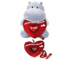 PLUSH HIPPO VALENTINE WITH HEART Removable 40 cm b