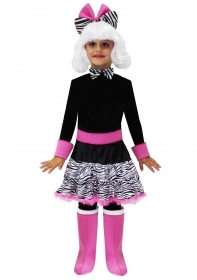 DRESS COSTUME Mask CARNIVAL Doll zebratina girl with a white wig