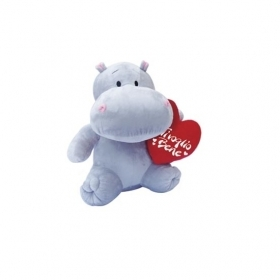 "PLUSH HIPPO VALENTINE WITH HEART AND WRITTEN ""I love YOU"" 30 cm"