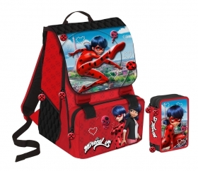 BACKPACK Extensible School, MIRACULOUS LADY BUG and more' pencil Case 3 zip with 45 pieces