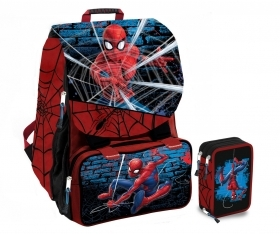 BACKPACK Extensible School MARVEL SPIDERMAN more pencil Case 3 zip with 45 pieces