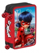 CASE SCHOOL 3 ZIP with 45 pieces - MIRACULOUS LADY BUG