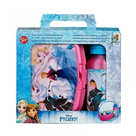 Portamerenda with a water BOTTLE in ALUMINUM - DISNEY FROZEN - ELSA and ANNA