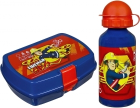 Portamerenda with a water BOTTLE in ALUMINUM - FIREMAN SAM - SAM THE FIREMAN