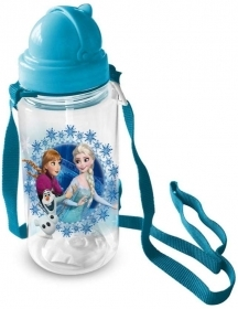 Water BOTTLE Plastic with straw, DISNEY FROZEN ELSA and ANNA