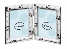 DOUBLE PHOTO FRAME in SILVER - DISNEY MICKEY MICKEY mouse