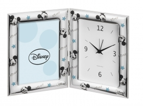 PICTURE FRAME SILVER with CLOCK / ALARM clock - DISNEY MICKEY MICKEY mouse