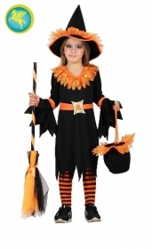 DRESS COSTUME CARNIVAL Mask / HALLOWEEN - little girl WITCH ORANGE