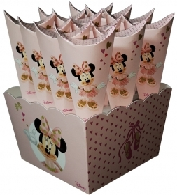 12 CARTONS Cone port, Confetti Sweets and more' Big Box DISNEY MINNIE mouse Bal